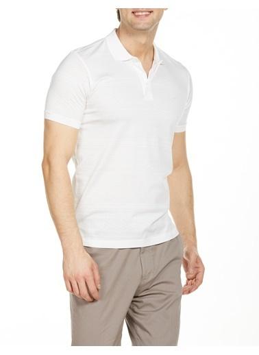 Bisse TS20Y20110 Regular Fit Desenli Polo Yaka T-Shirt Beyaz